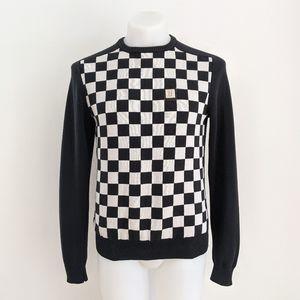 UNKUT Pullover Check Crewneck Sweater, Black/White